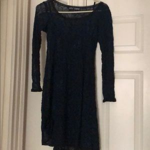 BETSEY JOHNSON NAVY BLUE LACE DRESS with slip